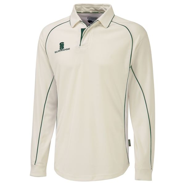 Picture of Premier Ivory Long Sleeve Shirt - Green Trim