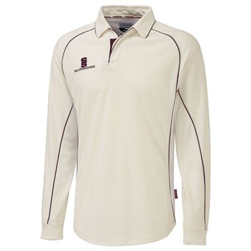 Picture of Premier Ivory Long Sleeve Shirt - Maroon Trim