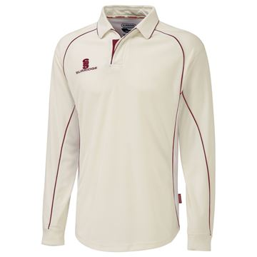 Picture of Premier Ivory Long Sleeve Shirt - Red Trim