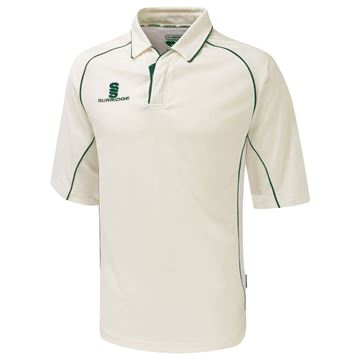 Picture of Premier Ivory Cricket Shirt - 3/4 Sleeve - Green Trim