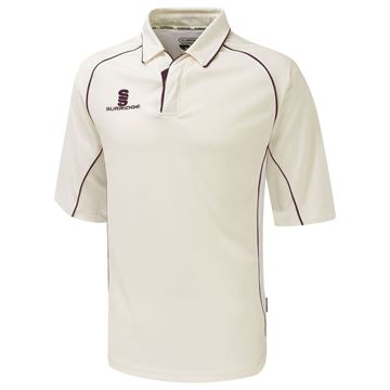 Picture of Premier Ivory Cricket Shirt - 3/4 Sleeve - Maroon Trim